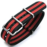 19mm G10 Nato James Bond Heavy Nylon Strap Brushed Buckle – J03 Double Black & Red