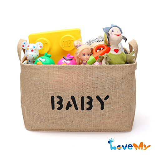 Jute Storage Basket and Organizer with Handles,Eco-Friendly for Baby Toy Storage(waterproof inner lining) - Collapsible Storage Basket, Baby Toys, Baby Clothing, Children Books, Gift Baskets - 1 pcs (Gift Basket Baby compare prices)