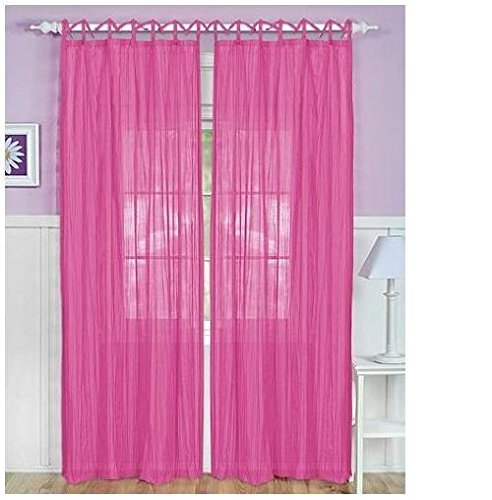 "Elrene Home Greta Crushed Sheer Panel 50"" x 84"" Pink - Single panel only"