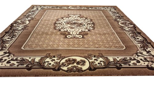 E503 Timeless French Aubusson Victorian Traditional Medallion Beige Berber Hand Carved 5x8 Actual Size 5'3x7'2 P59.jpg