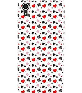 PrintDhaba CLUB CARDS PATTERN D-6701 Back Case Cover for HTC DESIRE 728 (Multi-Coloured)