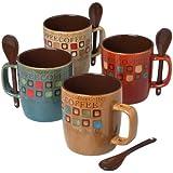 Mr. Coffee 8-Piece Cafe Americano Mug Set with Spoons, 13-Ounce, Assorted
