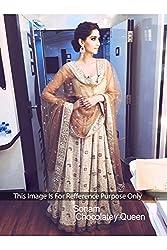 Designer CREAM & BROWN NET Bollywood Replica Lehenga Choli.
