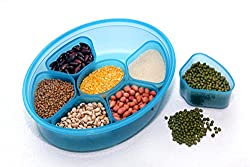 Your Choice Spice Box / Dry Fruit Box / Masala Box Curry box 2 Lids unbreakable airtight lock (Blue)