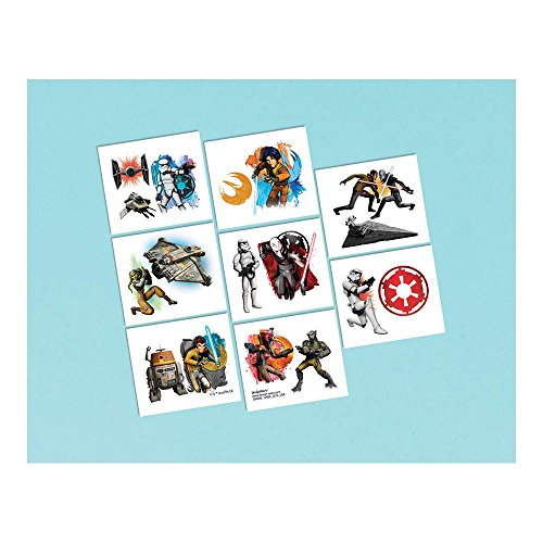 Amscan Exciting Star Wars Rebels Tattoo (16 Piece), Multi, 2 x 1 3/4""