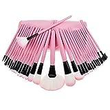 KanCai® 32PCs Professional Makeup Brushes Set Synthetic Kakubi Cosmetic Foundation Blending Blush Eyeliner Face Powder Makeup Brush Kit with Leather Traverl Pouch Bag Case (Pink)