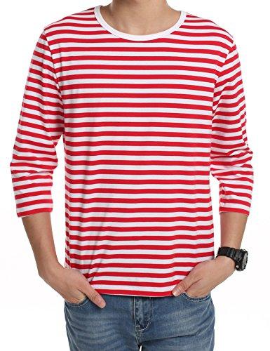 ボーダーTシャツ メンズ (クーファンディ)Coofandy ボーダーシャツ 七分袖 丸首 カジュアル シンプル コットン 普段着 ボーダー系定番 春夏秋 赤白