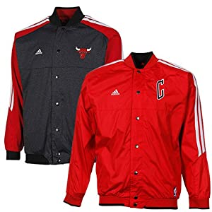 NBA adidas Chicago Bulls Youth On-Court Reversible Warm-up Jacket - Red Charcoal by adidas