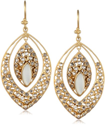 Lauren Harper Collection Over the Moon 18k Gold, Mother-Of-Pearl and Rose Cut Diamond Marquis Earrings