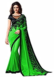 RockChin Fashions Green Georgette Embroidered Saree