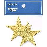 刺繍ワッペン アイロンパッチ 星スターM 2点セット NO-5525-2p (ゴールド)