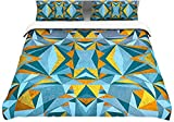 "Kess InHouse Nika Martinez ""Abstraction Blue and Gold"" 104 by 88-Inch Cotton Duvet Cover, King"