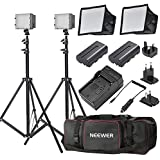 """Neewer® 2x 160 LED light kit Dimmable Ultra High Power Panel Digital Camera / Camcorder Video Kit, for Canon, Nikon, Sony and other Digital SLR Cameras, Kit Includes:(2x)CN-160 LED light+(2x)5.9""""x6.7"""" LED Softbox+ (2x)Li-Ion Battery Replacement for SONY NP-F550/ F570+(1x)4 in 1 Battery Charger+(2x)6 Feet Light Stand+(1)Large Deluxe Bag to carry all lights& accessories"""