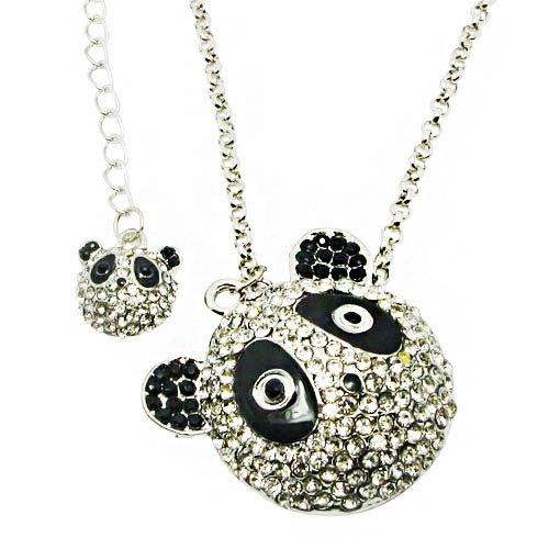 Lovely Panda Necklace in Full Cubic Zircon Stones