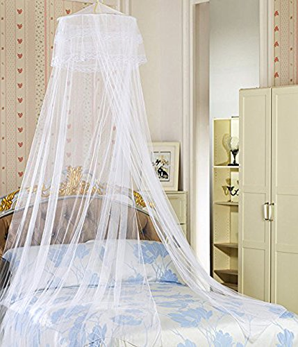YYGIFT® Round Lace Curtain Dome Bed Canopy Netting Princess Mosquito Net (White) - 1
