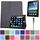 HDE Magnetic Folding Leather Folio Case Cover Stand for Apple iPad 1st Generation Tablet w/ Screen Protector & Stylus (Black)