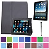 HDE Magnetic Folding Leather Folio Case Cover Stand for iPad 1st Generation Tablet w/ Screen Protector & Stylus (Black)