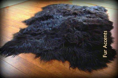 Fur Accents Faux Fur Area Rug / Long Hair Icelandic Sheepskin Accent Carpet / 5' X 8' / Scalloped Rectangle / Black