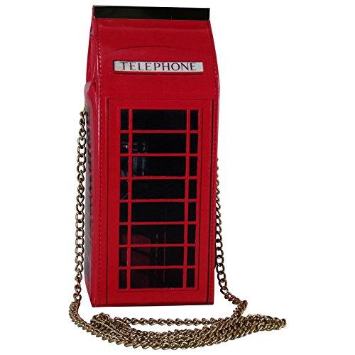 Pop-Art-Telefonzelle-Damen-Tasche-Handtasche-Henkeltasche-Baguette