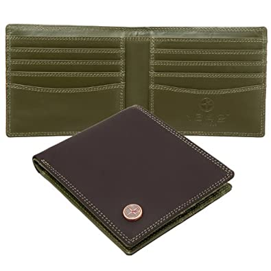 1642 Contrast Inner Two Fold Leather Wallet - Brown / Green