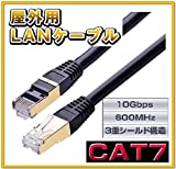 vacan CAT7 屋外仕様 LAN ケーブル コネクタ 付 ( 難燃性 耐候性 )【1年保障】 (15m)