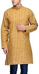 Gazi Men's Khadi Cotton Kurta (GFSK_201537_44, Gold Brown, 44)