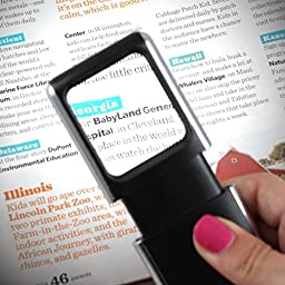 Fitryo LED Lighted Slide-out Aspheric Magnifier - Batteries Included - Make Reading Easy with This Portable Magnifying Glass - Easily Portable Pocket Magnifier with a Protective Sleeve