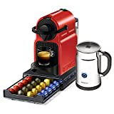 Nespresso Original Line Inissia C40 Red Espresso Maker Bundle with Aeroccino Plus Milk Frother and Bonus 40 Capsule Storage Drawer
