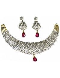 Shingar Jewellery Ksvk Jewels Latest New American Diamond Ad Ruby Necklace Set In Diamond Look For Women (5624...