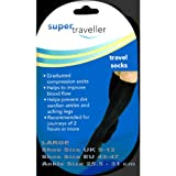 SUPER TRAVELLER Compression Travel Flight Socks Size 9-12, 43-47 LARGE - BLACKby Super Traveller