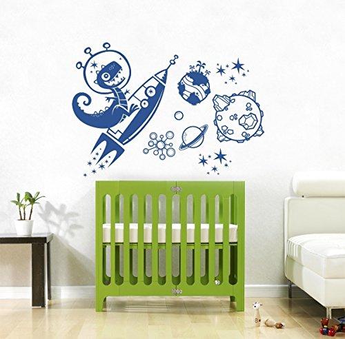 Wall Decal Vinyl Sticker Decals Art Decor Design Rocket Planets World Space Dinosaur Stars Kids Children Gift Nursery Beedroom (R702) front-618550