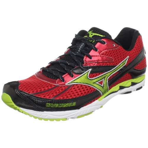 Mizuno Unisex Wave Musha 3 Running Shoe,Chinese Red/Limie Green-Anthracite,US Women's 8.5/ US Men's 7 M