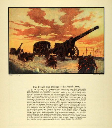 1934 Print French Gun Army Cannon Kaiser British Military War Georges Scott Bike - Original Color Print