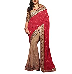 Sareeshoppers Art Silk Saree With Blouse Piece(Bhar-003_Red Beige)