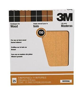 "3M Pro-Pak 88597NA 9""by11"" Garnet Sand Paper Sheets 60 Grit - 25 Pack"