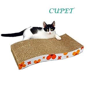 Cupet tm the wave curved catnip cat for Curved cat scratcher