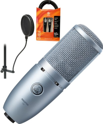 AKG Perception 120 Large Diaphragm Condenser Microphone w/Planet Waves 10' Mic Cable and On-Stage Pop Filter