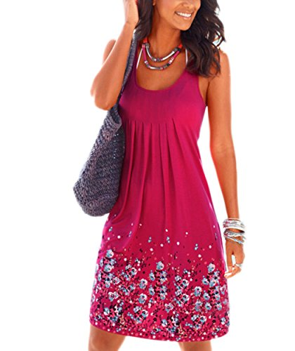 Akery Womens Summer Casual Sleeveless Mini Printed Vest Dresses (XL, Rose)
