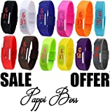 Pappi Boss Imported Unisex Multicolor Set of 12 Digital Rubber Jelly Slim Silicone Sports Led Smart Band Watch for Boys, Girls, Men, Women, Kids - DISCOUNT SALE DEAL EVER