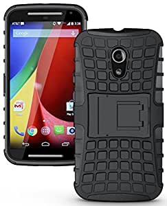 RIdhaniyaa (COMBO OFFER) for (Motorola Moto G2 Moto G2nd gen / G 2014) - Shock Proof Kick Stand Back cover Case + Tempered Glass screen Protector - (Black,Transparent)