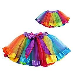 Phenovo Kids Lovely Colorful Tutu Skirt Girls Rainbow Tulle Tutu Mini Dress M