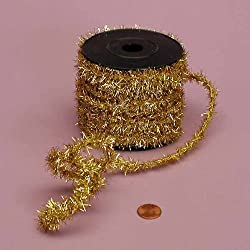 "Ribbon - Gold Tinsel Wire 1/2"" X 10Yd"