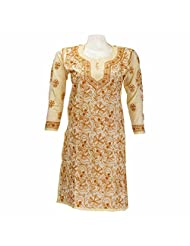 Imperial Chikan Women Cotton Chikankari Lemon Kurti - B00QXFBDLG