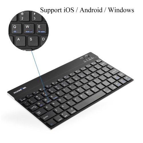 (Support Android, Ios, And Windows) Rocketek Ultra-Slim(1/4 Inch) Wireless Bluetooth 3.0 Keyboard For Iphone 5 5S 5C, Ipad Air / Ipad Mini 2 / Ipad Mini /Ipad 3 / Ipad 2 / Galaxy Tab And Other Tablets - Built-In Lithium Battery / Aluminum Body