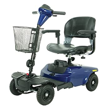 The Bobcat 4 wheel compact scooter in blue by Drive Medical is ideal for indoor and outdoor use and is lightweight and easy to operate. It has a 35.4 inches turning radius, with a top speed of 4 mph, and a cruising range of 7.5 miles. It comes in a c...
