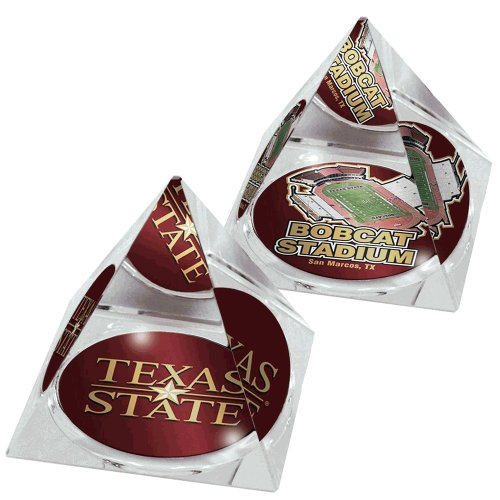 """NCAA Texas State Bobcats stadium and """"star"""" logo in 2"""" Crystal Pyramids with Colored Windowed Gift Boxes; set of 2"""