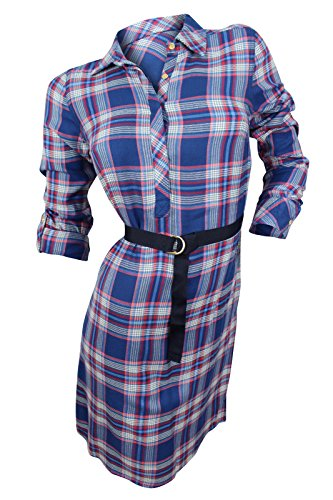 Tommy Hilfiger Women's Blue Plaid Shirt Dress, XS (Belt Tommy Hilfiger Women compare prices)