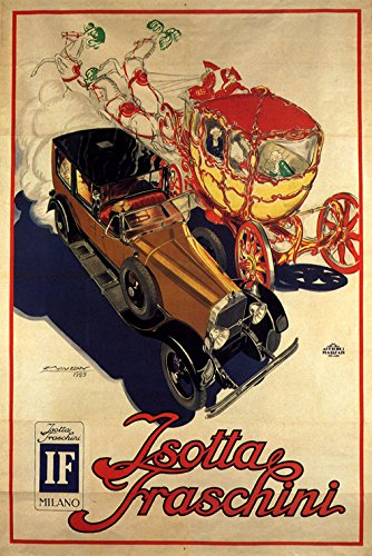 italian-isotta-fraschini-luxury-car-automobile-horse-carriage-italy-16-x-24-image-size-vintage-poste