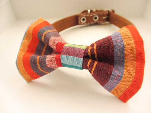 Dog or Cat Slide on Handcrafted Bow Tie Collar Accessory Made from Thai Tradition Pakaoma Cotton Fabric So Chic