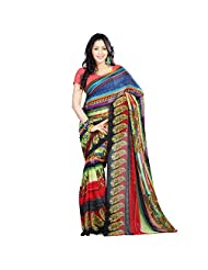 Sitaram Women's Multicoloured Georgette Printed Saree With Blouse Piece